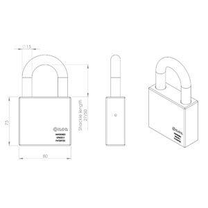 Privus Hængelås Bøjle-str. 15-27mm, 500mm kæde